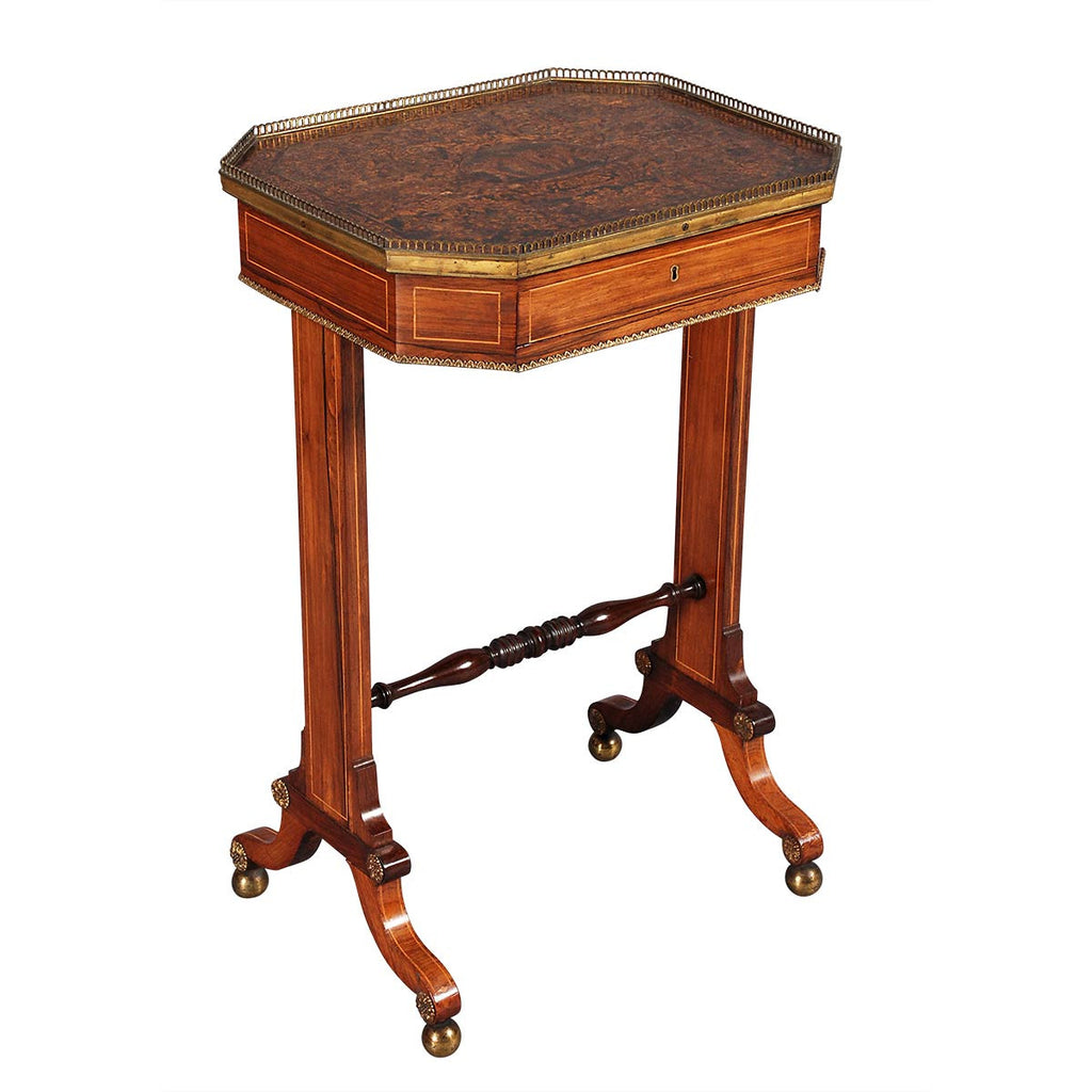 A Regency Period Penwork and Rosewood Table