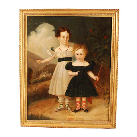 Portrait of Two Children in a Pastoral Landscape