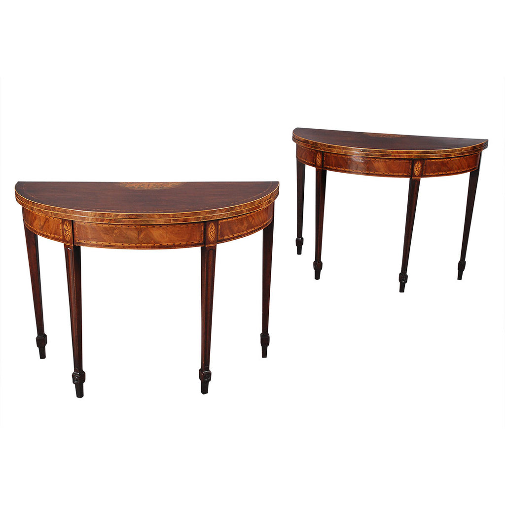 Pair of Demilune Card Tables