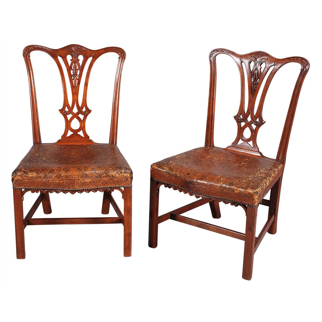 Pair of Chippendale Style Chairs with Leather Seats