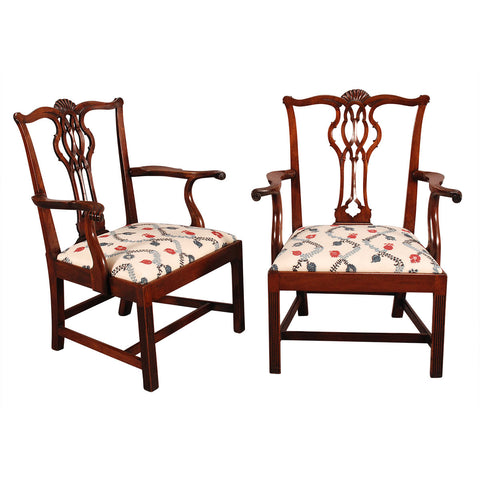 Pair of Large Chippendale Armchairs