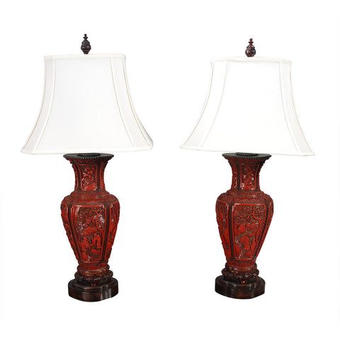 Pair of Large Cinnabar Lamps