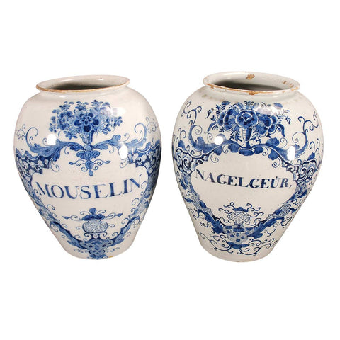 Matched Pair of Delft Tobacco Jars