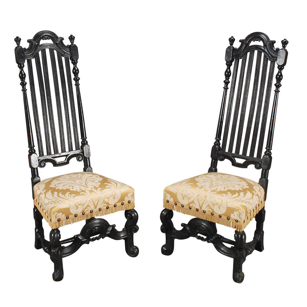 Pair of Ebonized Hall Chairs