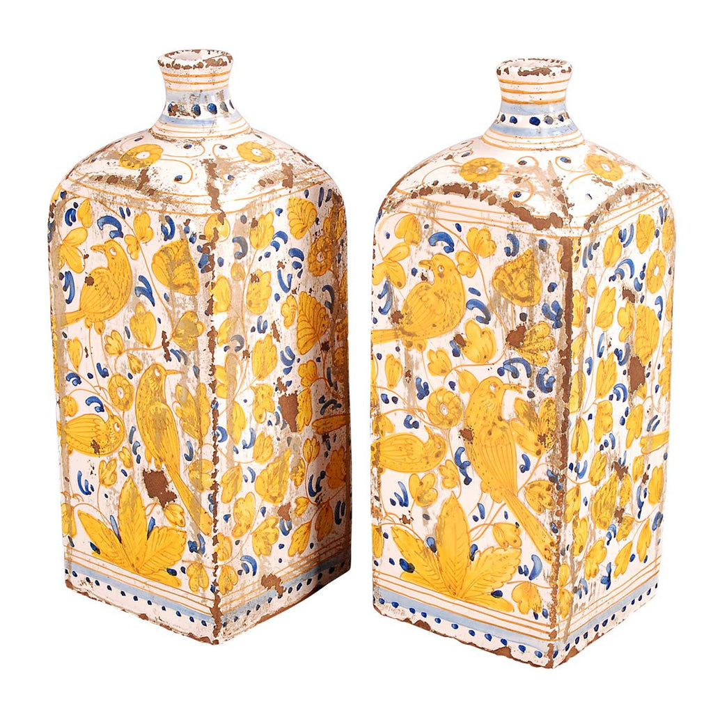 Pair of Blue and Yellow Tin-Glazed Vases