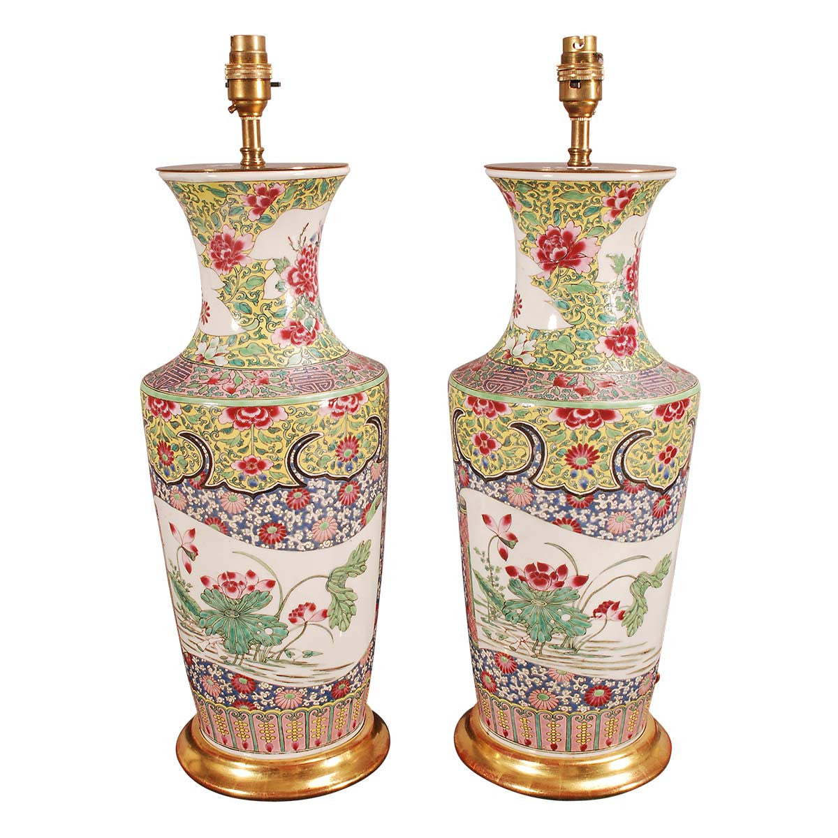 Pair of famille rose vases wired as lamps jayne thompson pair of famille rose vases wired as lamps reviewsmspy