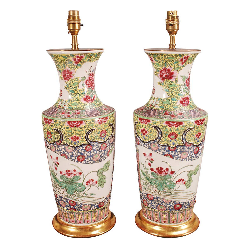 Pair of Famille Rose Vases Wired as Lamps