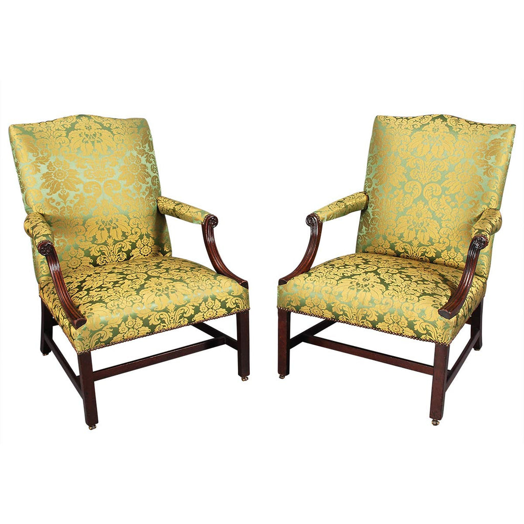 Pair of Mahogany Library Armchairs