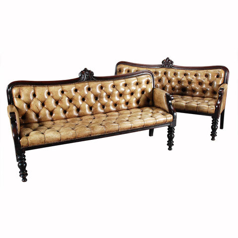 Pair of Tufted Leather Benches