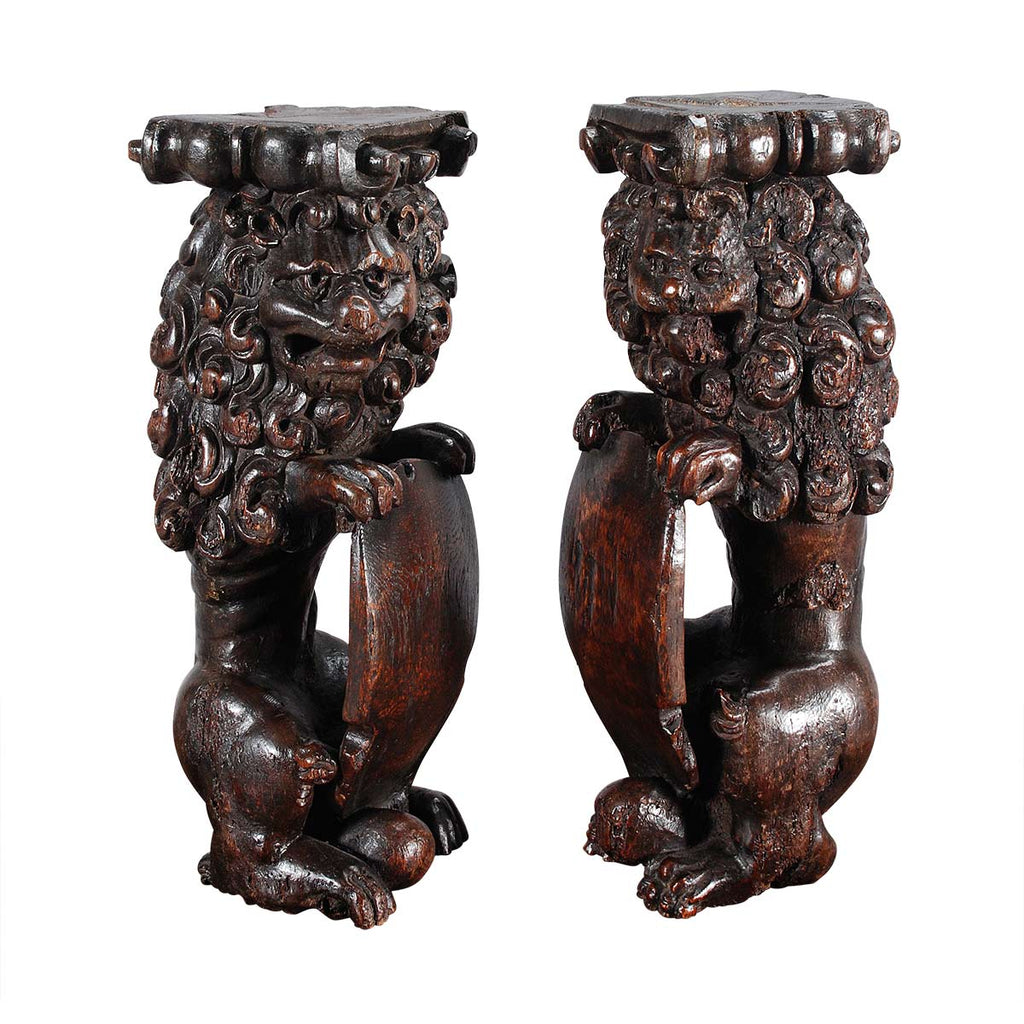 Pair of Carved Upright Lions