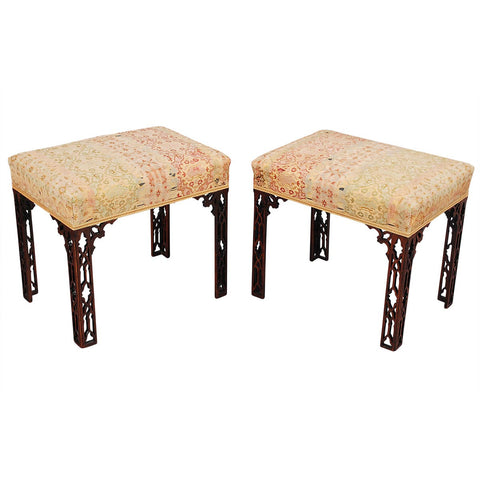 Pair of Chinese Chippendale Style Stools