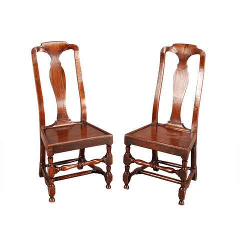 A Pair of Country Queen Anne Chairs
