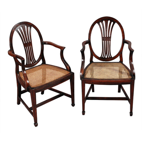 Pair of Rosewood Hepplewhite Armchairs