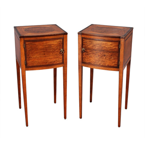 Pair of Satinwood Bedside Cupboards