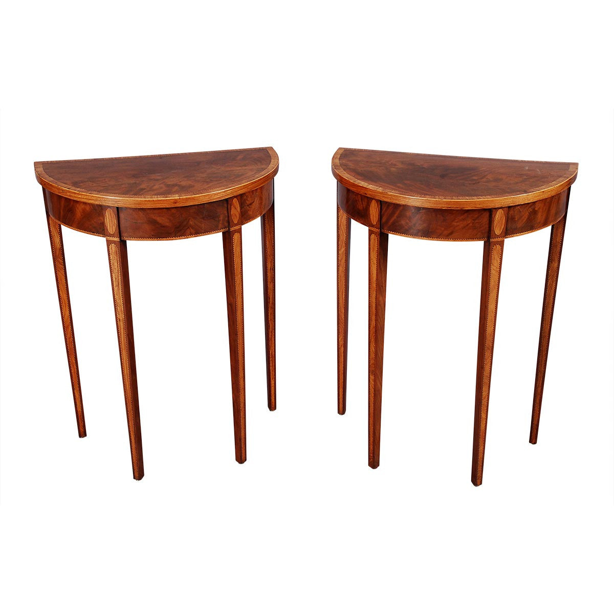 Pair Of Unusually Small Demilune Tables