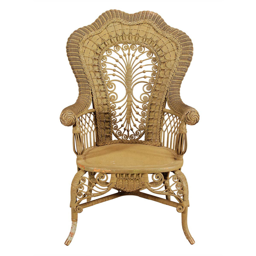... Pair Of Painted Wicker Armchairs