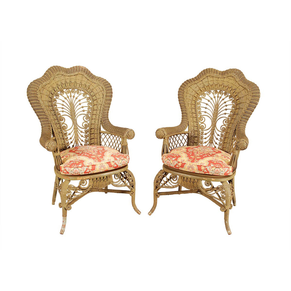 Pair Of Painted Wicker Armchairs