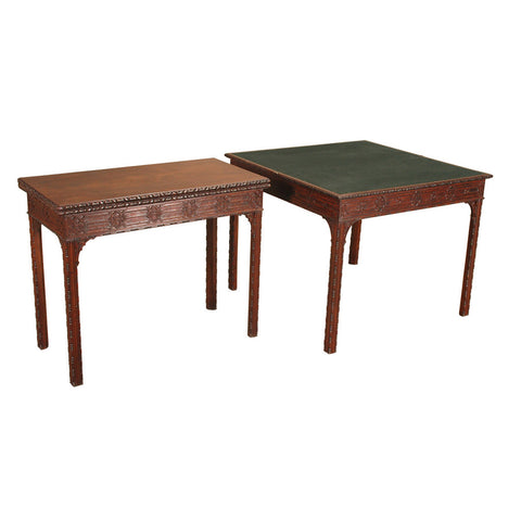 A near pair of 18th century concertina action mahogany card tables. View 1