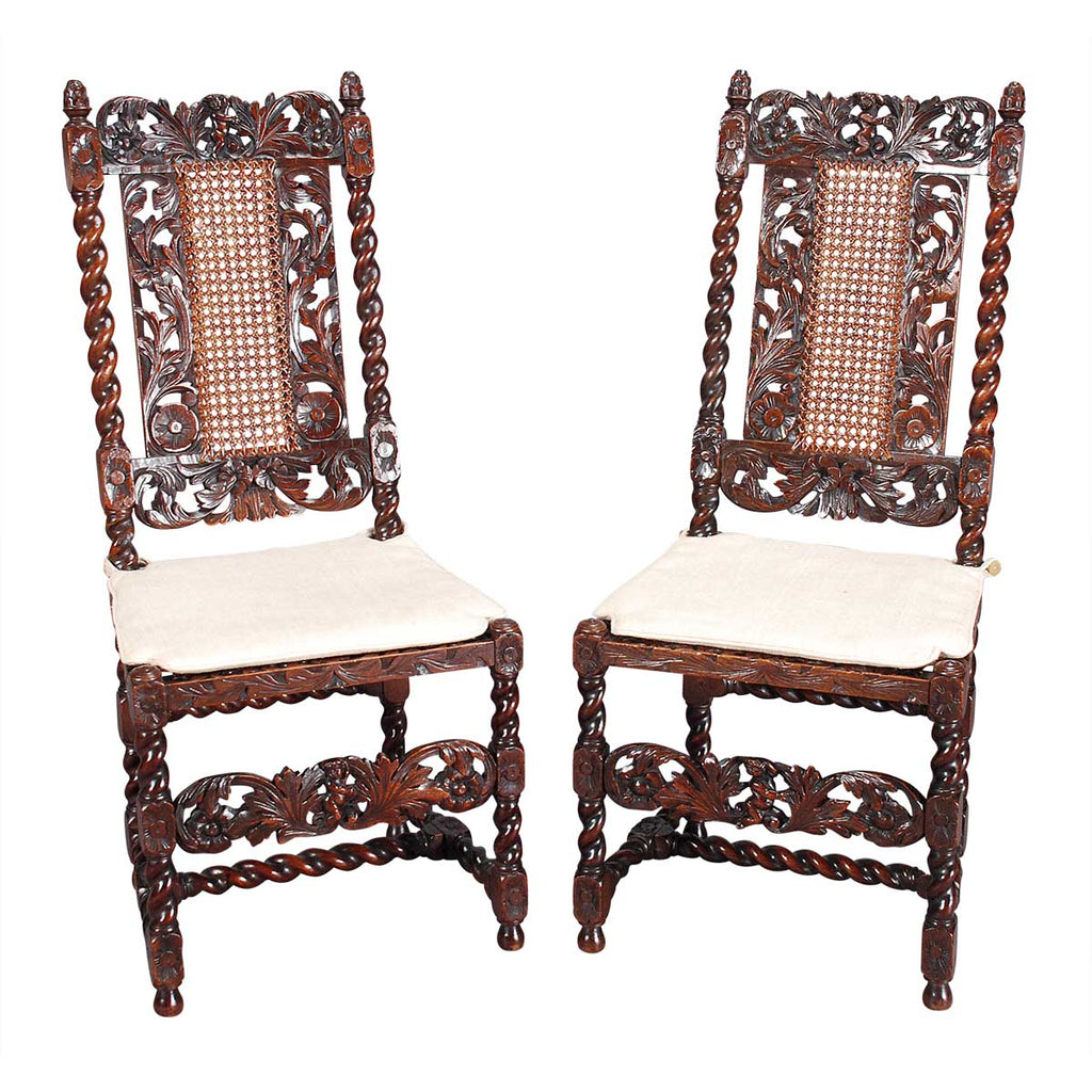 Pair of Charles II Style Hall Chairs