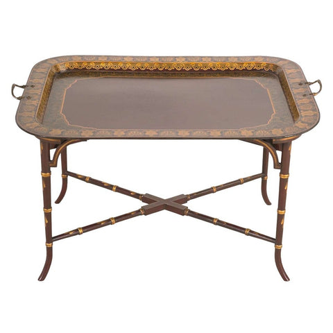 A antique red chinoiserie and gilt tray with the original brass handles. view 1