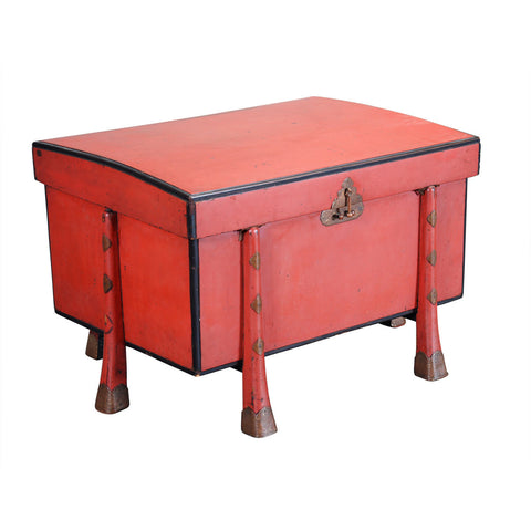 Chinese Lacquer Chest with Arched Lid