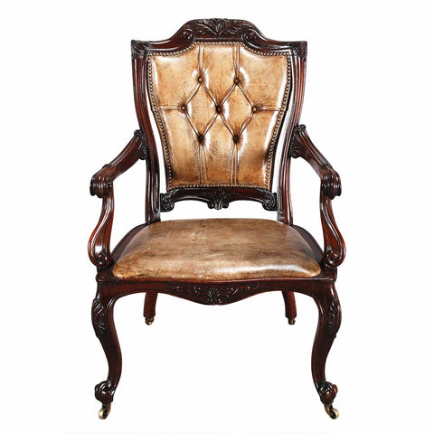 Rosewood Armchair in Leather