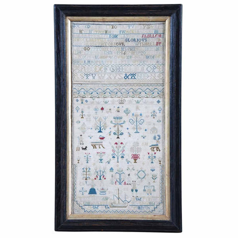 An 18th Century English needlework sampler worked by Elizabeth Fairleim. View 1