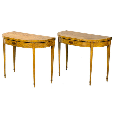 Pair of mahogany card tables with satinwood inlay legs. View 2