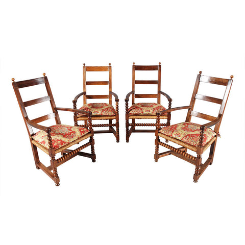 Set of Four Bobbin-Turned Chairs
