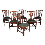 Set of Six Dining Chairs with Lattice-Work Splat