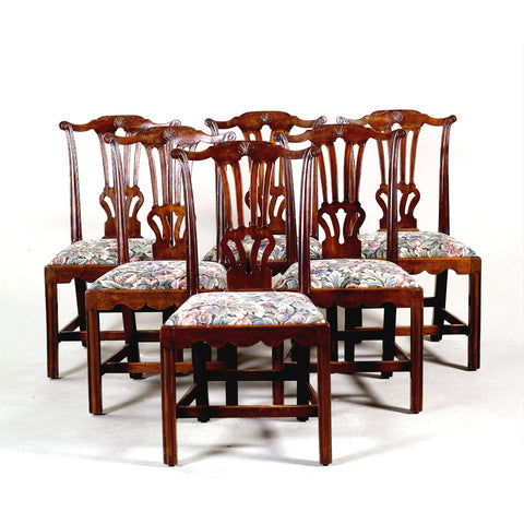 Set of six 18th century Chippendale period side chairs with carved backsplat. view 1