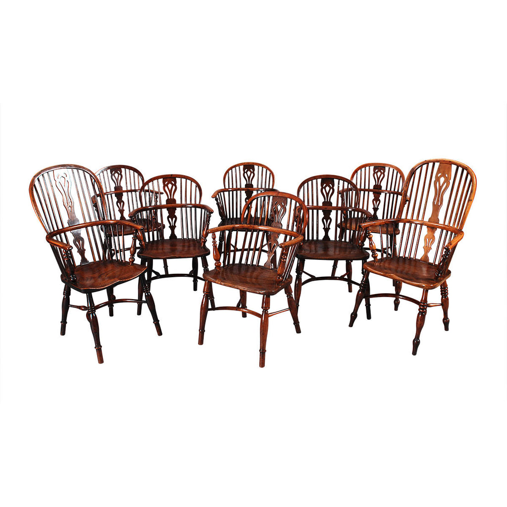 Set of Six + Two Windsor Armchairs