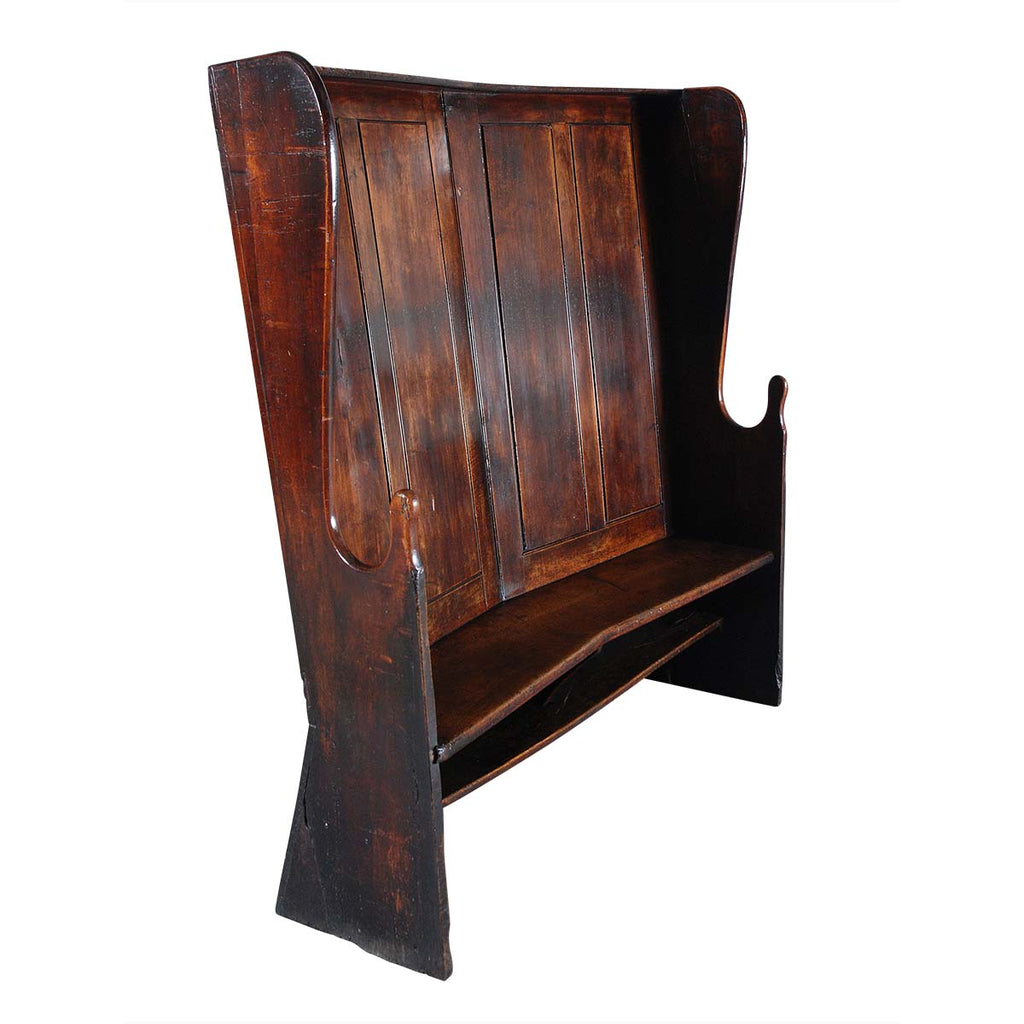 Paneled-Back Walnut Settle of Angular Form