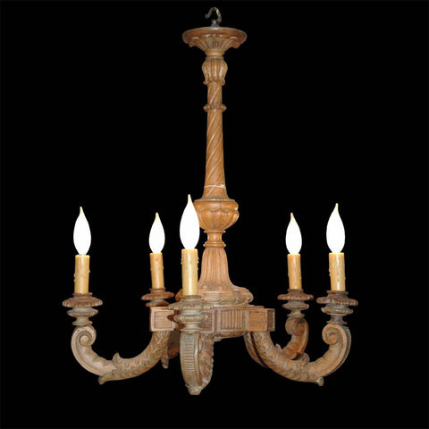A 19th century small carved wood chandelier with five arms. view 1