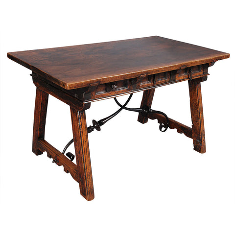 Continental Walnut Table with Drawers and Iron Stretchers