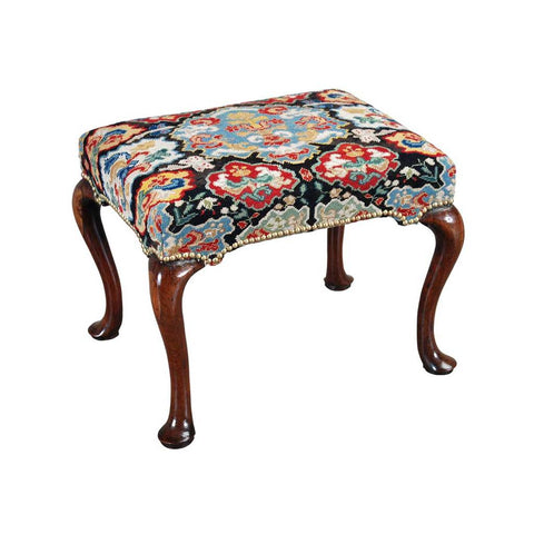 A Queen Anne period walnut stool on dramatically shaped cabriole legs ending in pad feet. view 1
