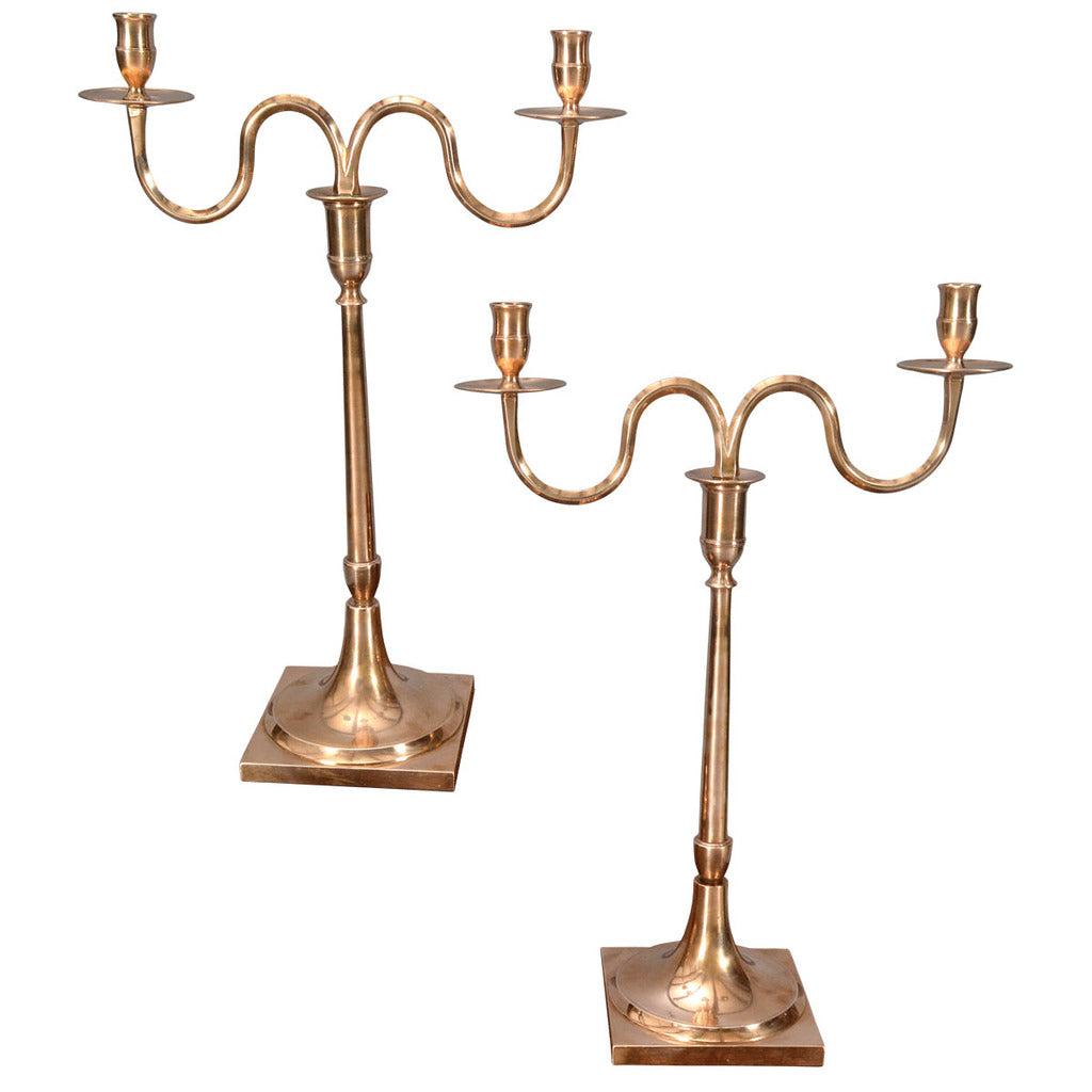 An antique pair of Bell Metal Candelabra with two S-shaped arms. view 1