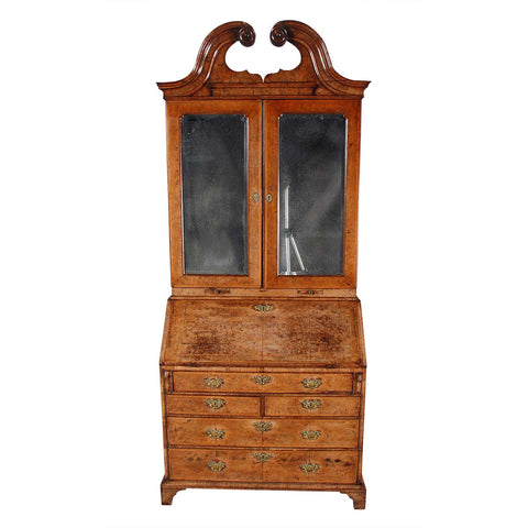 Walnut Secretary with Swan Neck Pediment