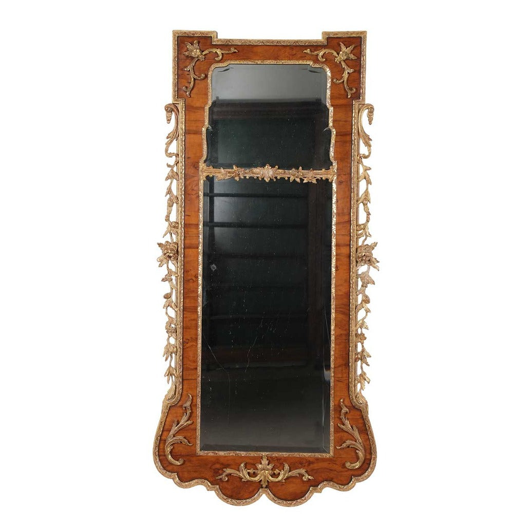 George II  antique walnut and parcel gilt mirror from 18th century. view 1