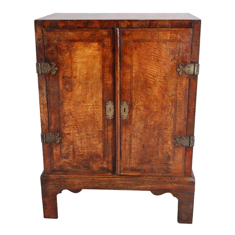 An Early Walnut and Oak Cabinet on Stand
