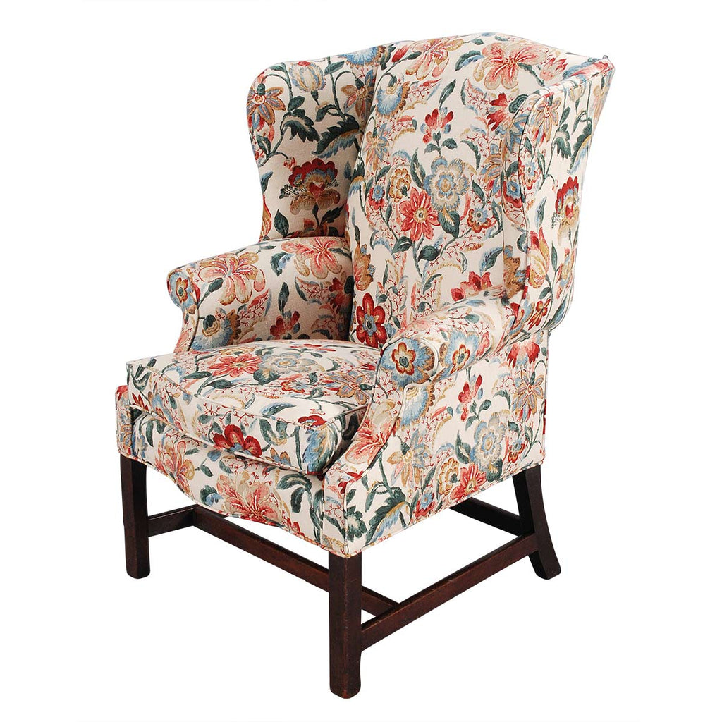 Mahogany Wing Chair in Lee Jofa Linen