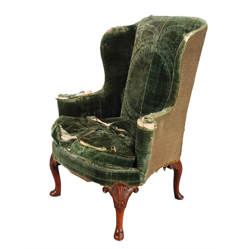 Fine George II Period Walnut Wing Chair on Four Cabriole Legs