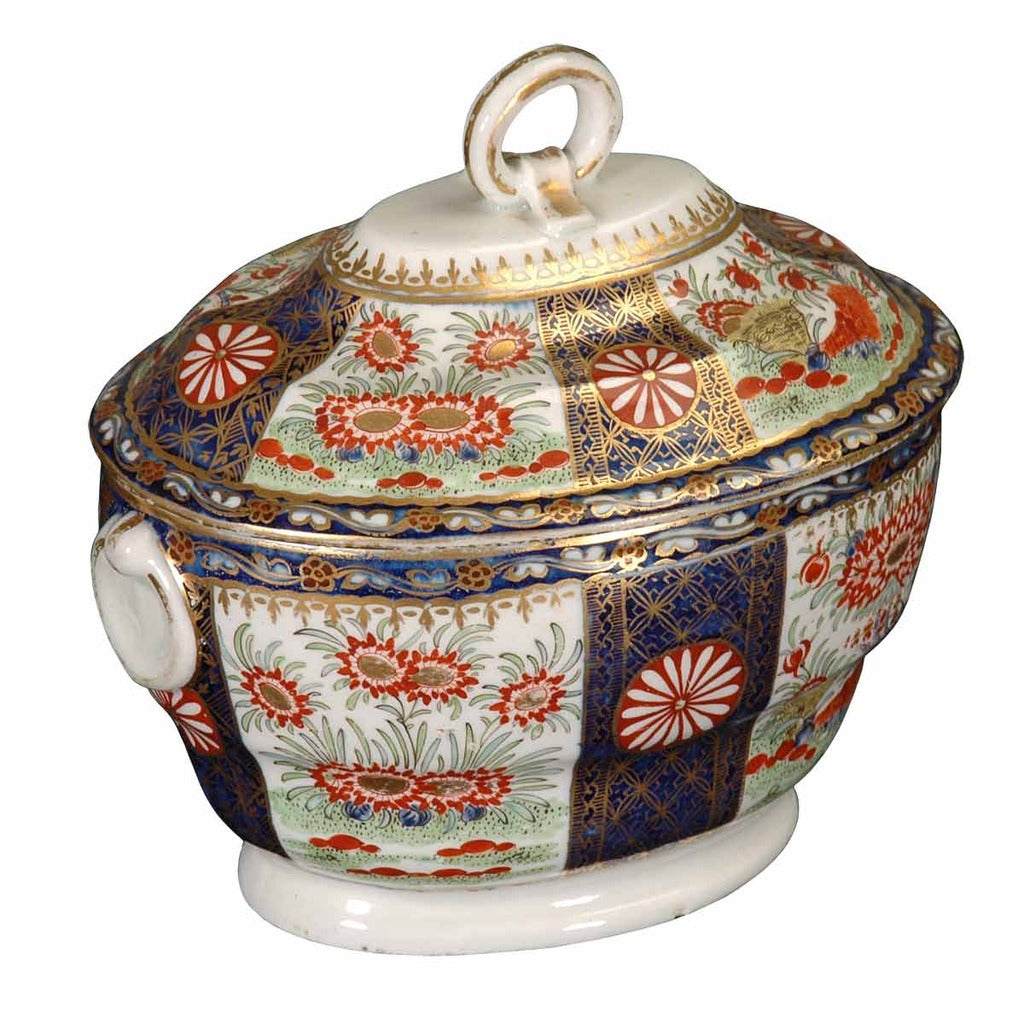 A 1790 Worcester partial tea service in the Rich Brocade pattern. View 1