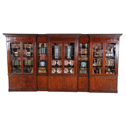 A 18th century extremely long bookcase of double-breakfronted form. view 1