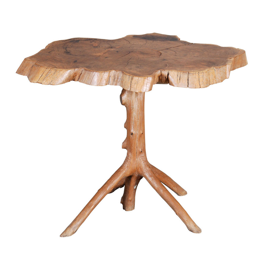 An unusual rustic occasional table, the top formed from the cross-section of a yew tree. view 1