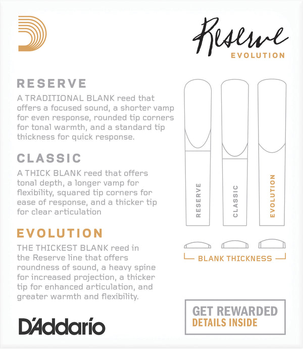 D'Addario Reserve Evolution Bb Clarinet Reeds