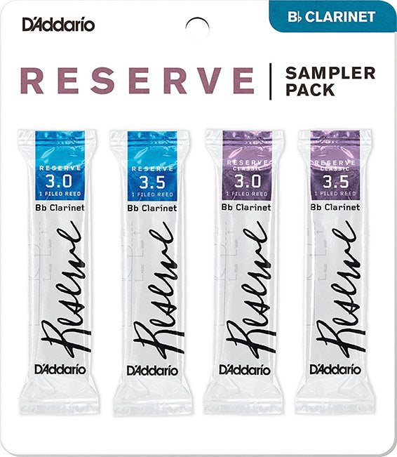 Bb Clarinet Reed D'addario Reserve Sampler Pack of 4