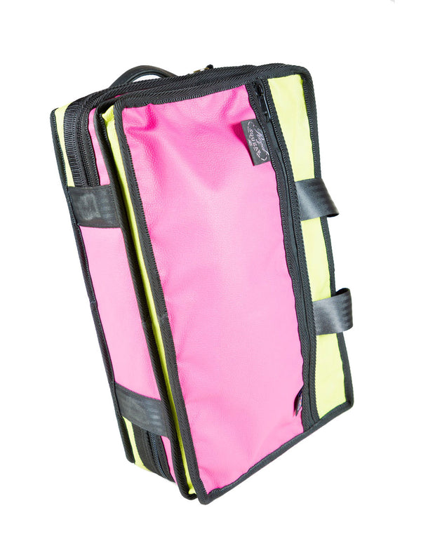 Reed & Squeak Compact Double Clarinet Case in Green & Pink Luxury Italian Leather (Special Offer)