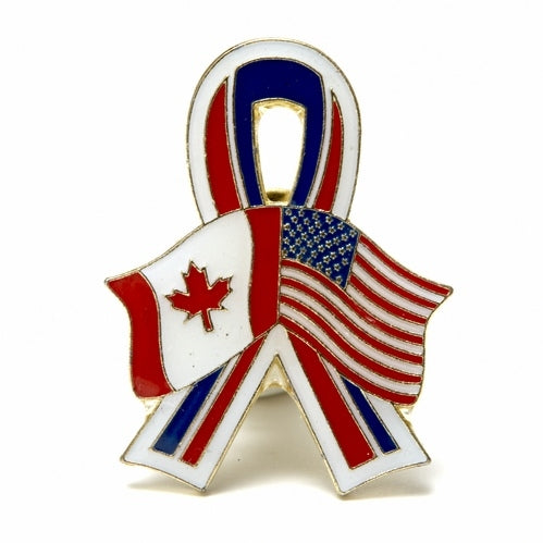 Canada / United States USA Flags Friendship Ribbon Lapel / Hat Pin
