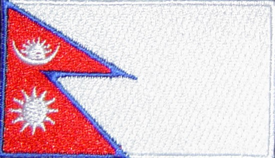 "Nepal Flag Patch 1.5"" x 2.5"""